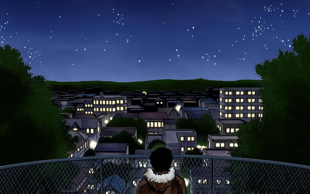 マンガ『宇宙兄弟』オールカラー版(2巻・第17話)- 思い出の裏山から星空を見上げるムッタ